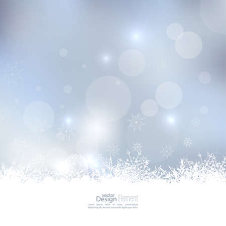 the snow: Abstract Winter Background with beautiful various snowflakes and stars