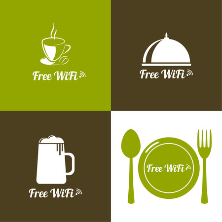 cybercafe: wifi icons with coffee, beer, spacing, fork, spoon for remote access Illustration