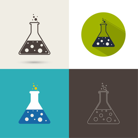 erlenmeyer: Set of icons with chemical flask with reagent