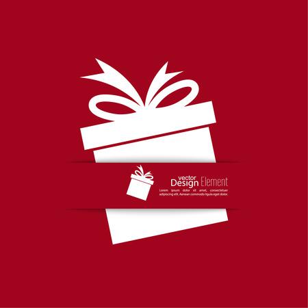 Ribbon in Form von Geschenk mit Schatten und Platz für Text
