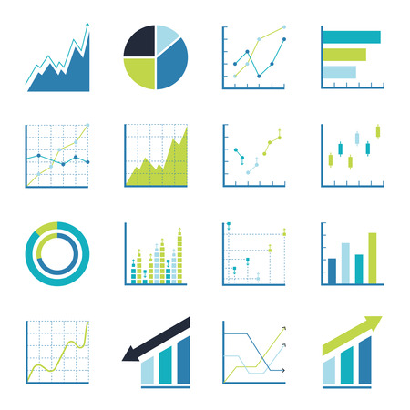stock market chart: Set of statistics icon Illustration