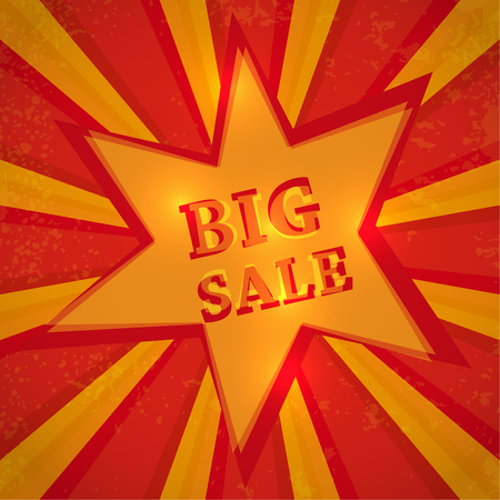 Star with text big sale  discount price offer on shiny bright radial rays.  Vector