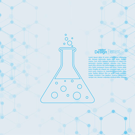 chemical reaction: Abstract background with DNA molecule structure. genetic and chemical compounds. laboratory glass with chemical reaction. flask and bubbles