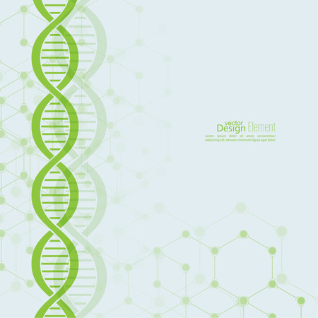 Abstract background with DNA strand molecule structure. genetic and chemical compounds Vector