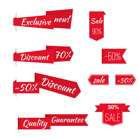 cut price: Vector ribbons banners with slogans exclusive, discount, quality, sale. Set tags  labels.