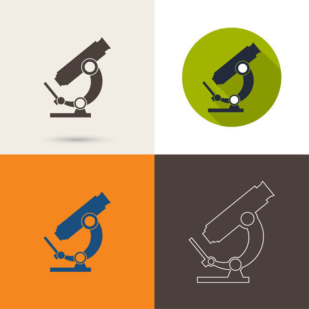 microbes: Vector icons with a microscope with a long shadow, with a flat design. Scientific research and bioprospecting microbes
