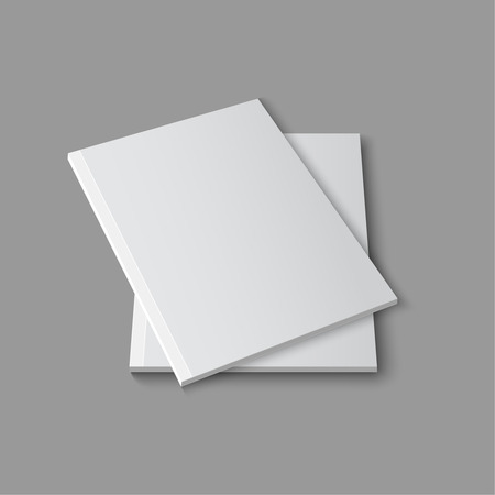 books isolated: Blank empty magazine or book template lying on a gray background. vector
