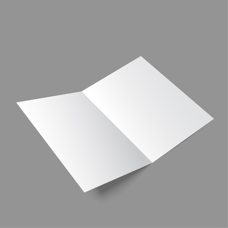 paper fold: Lying  blank two fold paper brochure on gray background. Open magazine. Cover for your design