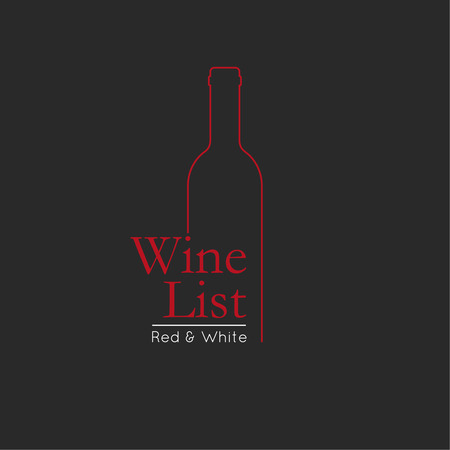 Wine List Menu Card Design template. wine badge and label. wine bottle glass design menu background. Vector