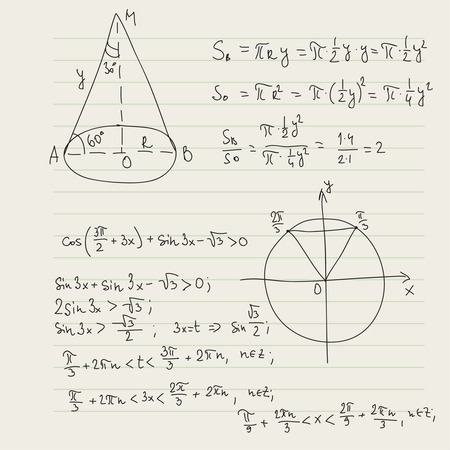 math paper: Vector pattern with mathematical formulas, calculations, graphs, proof and scientific research in the field of algebra, geometry. Paper sheet with hand-drawn characters.