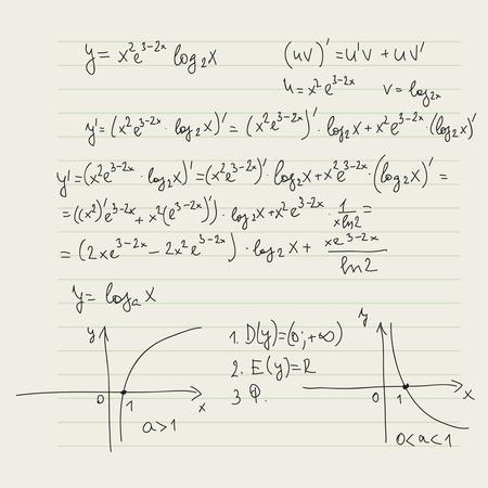 integral: Vector patr�n con f�rmulas matem�ticas, c�lculos, gr�ficos, la prueba y la investigaci�n cient�fica en el campo de la �lgebra, geometr�a. Hoja de papel con personajes dibujados a mano. Vectores