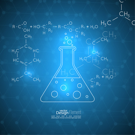 subsidiary: Abstract background with molecule structure. genetic and chemical compounds, Chemical flask and a formula, research and experiments Illustration