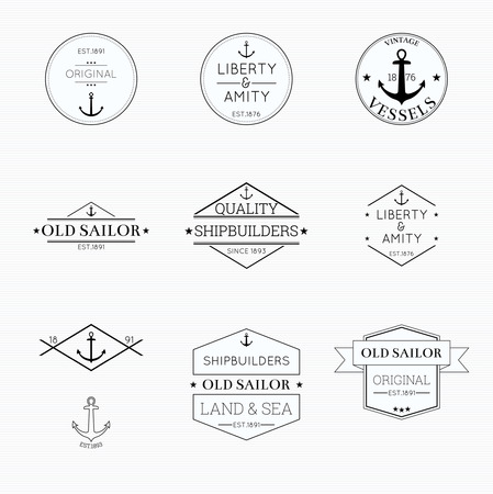 seal stamp: Set tags with ribbons and labels. liberty and amity, vessels,  banner with an anchor tattoo, shipbuilders