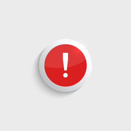 exclaim: Exclamation mark icon. Attention sign icon. Hazard warning symbol  in glossy red button. vector