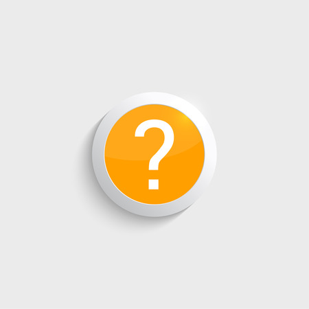 quality questions: Question mark icon. Help symbol. FAQ sign  in glossy yellow button. vector Illustration