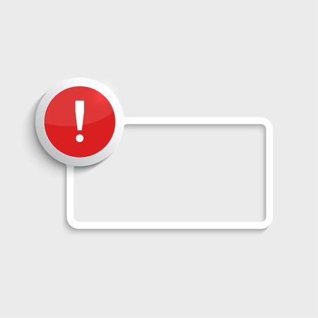 hazard damage: Exclamation mark icon. Attention sign icon. Hazard warning symbol  in glossy red button with paper frame for your text. vector Illustration