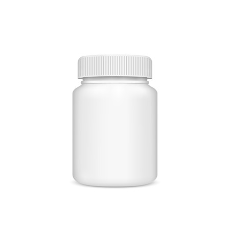lid: Plastic jar with the lid on a white background. Vector Illustration