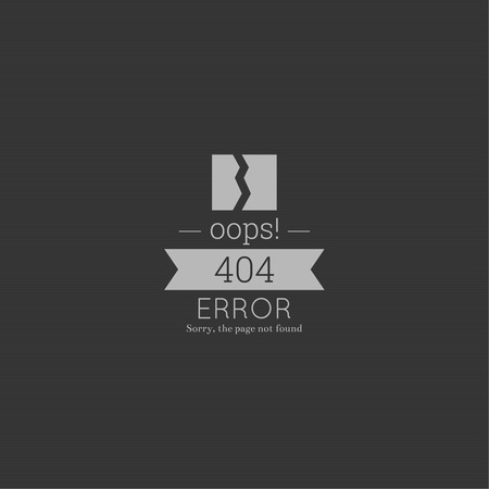 Oops. 404 error. Sorry, page not found. vector. for web pages, mobile applications, with technical malfunctions and removing web resource. banner with the inscription on a gray background Ilustracja