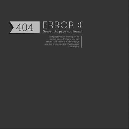 Oops. 404 error. Sorry, page not found. vector. for web pages, mobile applications, with technical malfunctions and removing web resource. banner with the inscription on a gray background Ilustrace