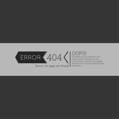 display problem: Oops. 404 error. Sorry, page not found. vector. for web pages, mobile applications, with technical malfunctions and removing web resource. banner with the inscription on a gray background Illustration