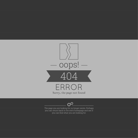 sorry: Oops. 404 error. Sorry, page not found. vector. for web pages, mobile applications, with technical malfunctions and removing web resource. banner with the inscription on a gray background Illustration