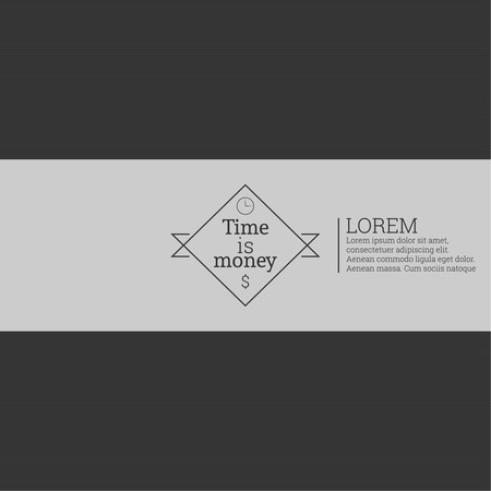 Time is money, money concept. Label with text and a dollar sign and a clock on a dark background. vector Vector