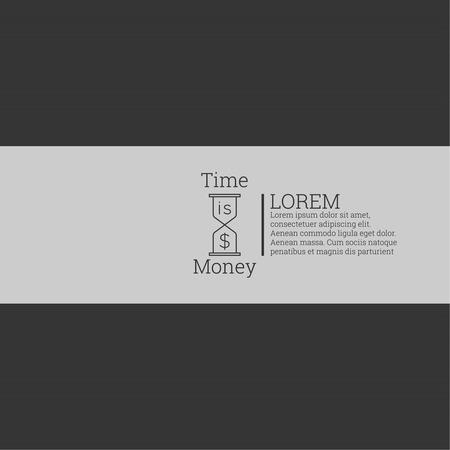 affluence: El tiempo es oro, concepto de dinero. Etiqueta con texto y un signo de d�lar y un reloj sobre un fondo oscuro. vector