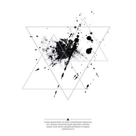 ink splatter: Abstract background with hipster triangles and ink splatter, black drop . Triangle pattern background. For cover book, brochure, flyer, poster, magazine, cd cover design