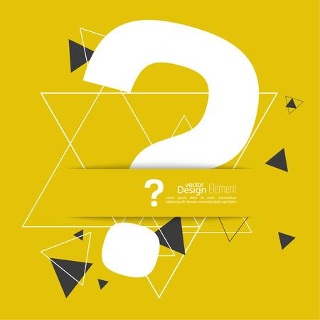 questionail: Icono de signo de interrogaci�n. S�mbolo de ayuda. FAQ signo sobre un fondo amarillo con tri�ngulos. Patr�n inconformista. vector