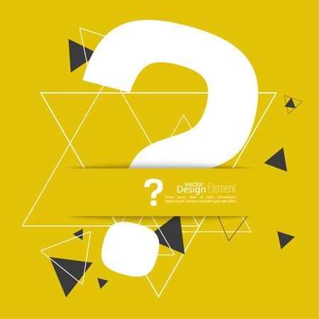 faq: Question mark icon. Help symbol. FAQ sign on a yellow background with triangles. hipster Pattern. vector