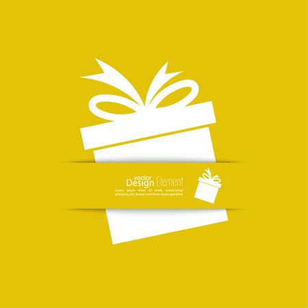 Lint in de vorm van een gift met schaduw en ruimte voor tekst. platte design.banners, grafisch of website layout template. geel
