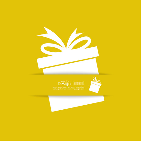 red gift box: Ribbon in the form of gift  with shadow and space for text. flat design.banners, graphic or website layout  template. yellow