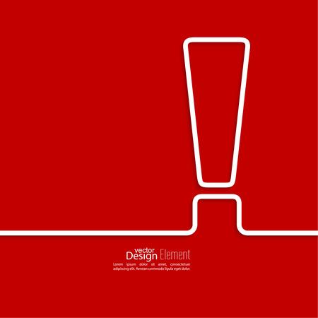 Icono de signo de exclamación. Icono de señal de atención. Peligro símbolo de advertencia en el fondo rojo. vector