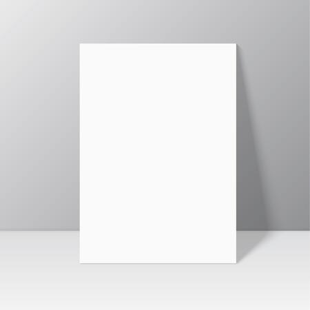 Blanc fixe blanc près du mur à l'ombre. Magazine, livre, brochure, flyer, tête a4, dossier, dépliant, brochure