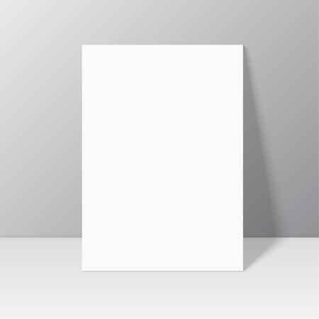 White blank stationary near the wall with shadow. Magazine, book, brochure, flyer, a4 letterhead, folder, leaflet, booklet