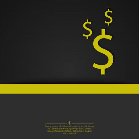 with space for text: Abstract background with a dollar sign and space for text. Template for cover, annual business reports, layout, poster, web design, websites,  mobile applications, app. Gold, yellow Illustration
