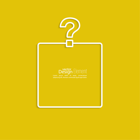 Question mark icon. Help symbol. FAQ sign on a yellow background. vector. Frame the question with a blank space for text