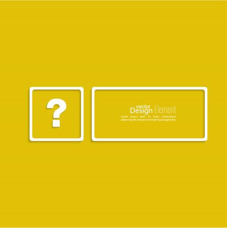 questionail: Icono de signo de interrogaci�n. S�mbolo de ayuda. FAQ signo sobre un fondo amarillo. vector. Encuadrar la pregunta con un espacio en blanco para el texto Vectores