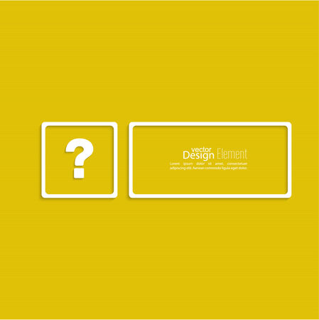 quality questions: Question mark icon. Help symbol. FAQ sign on a yellow background. vector. Frame the question with a blank space for text