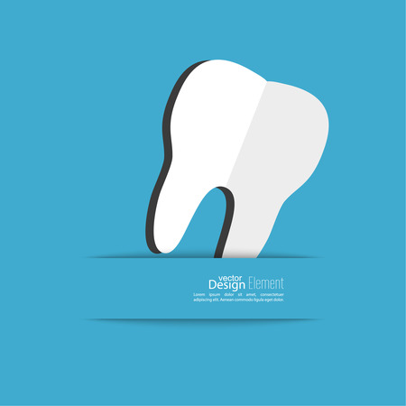 stomatology icon: Human tooth with a ribbon. Flat design. banner, graphic or website layout  template. blue Illustration