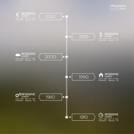 excluding: Timeline Infographic on blurred background with arrows and pointers. for reports, statistics, earnings, excluding, sales, development, ranking Illustration