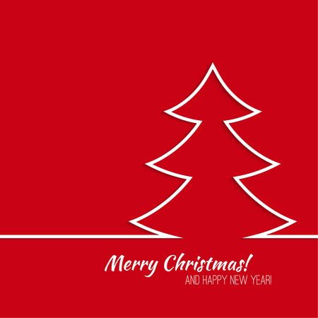 ruban blanc: Abstract Winter Background. Christmas tree applique of folded a white ribbon. Happy New Year and Merry Christmas.  red