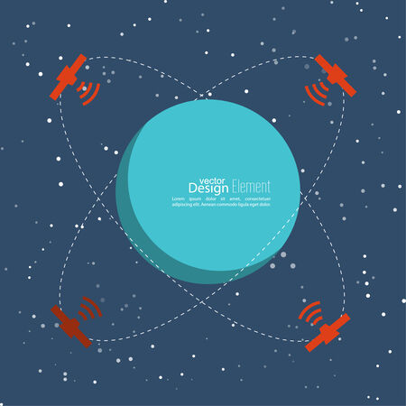 transmit: Planet in space with satellites transmit radio signals. Global connectivity technologies in the transmission of information. flat design. The orbit of a celestial body