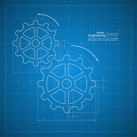 Paper blueprint background. Gears symbol on the drawing paper. Concept of motion and mechanics, connection and operation engineering design work. vector Vector