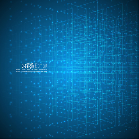 Abstract vector background with glowing grid, particles, molecules. Tehnolologiya, science and research. cyberspace to cells. Data.