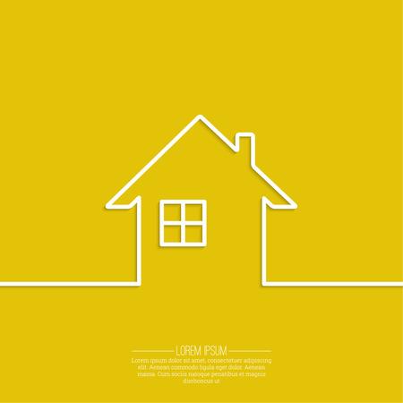 Cinta en forma de casa con la sombra y el espacio para el texto. diseño plano. Icono de las propiedades inmobiliarias. Regístrate para tarjetas de visita de la agencia inmobiliaria. Antecedentes para la publicidad, el informe, las ventas, el sitio de Internet