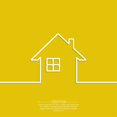 exterior element: Ribbon in the form of house with shadow and space for text. flat design.   Icon of real estate. Sign for business card of realtor agency. Background for advertising, report, sales, Internet site