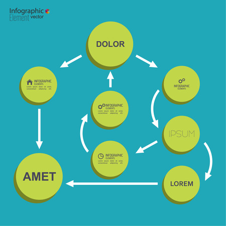 algorithm: Corporate organization chart template with round elements. flat design. algorithm of action and choice