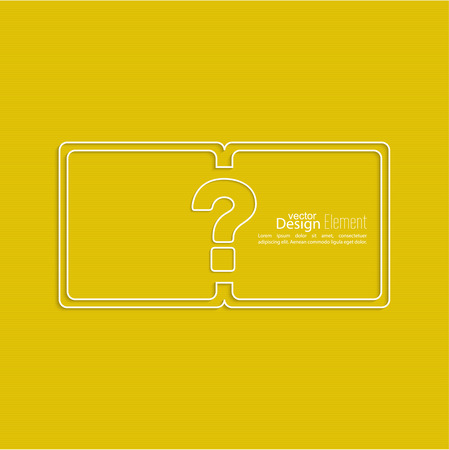 questionail: Question mark icon. Help symbol. FAQ sign on a yellow background. vector. Frame the question with a blank space for text