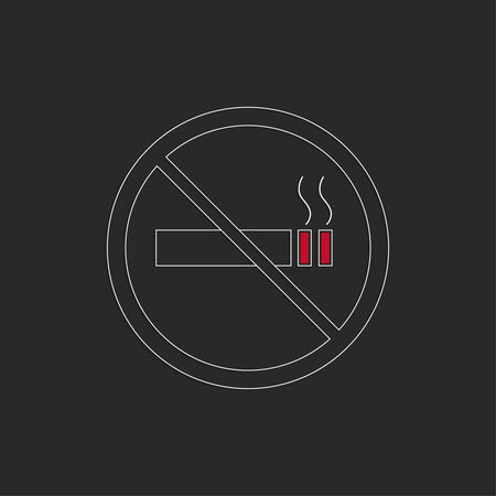 crossed cigarette: No smoking sign. No smoke icon. Stop smoking symbol. Vector. Burning cigarette in a crossed circle. Area for non-smokers